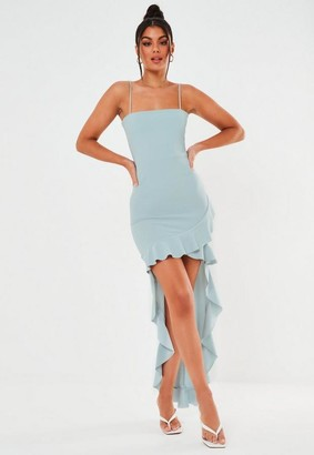 Missguided Blue Square Neck Ruffle High Low Dress