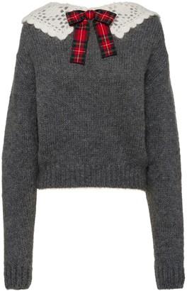 Miu Miu Crochet Tartan Collar Jumper