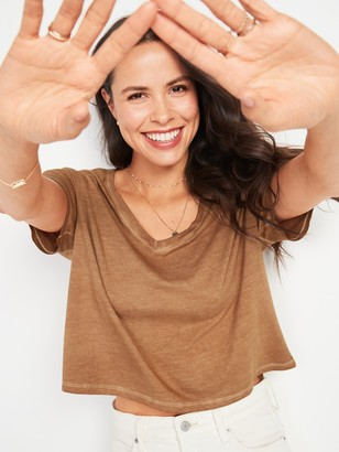 Old Navy Loose Specially Dyed V-Neck Crop Tee for Women