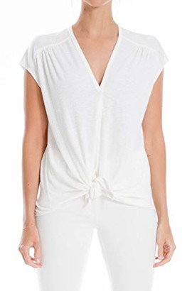 Max Studio Women's Cap Sleeve Button Front Tie Textured Knit Top