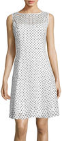 Ronni Nicole Sleeveless Fit-and-Flare Dress with Dot Print Circle Lace