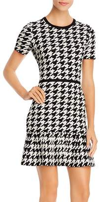 Paule Ka Ruffled Houndstooth Mini Dress