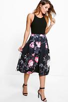 Boohoo Suki Dark Floral Digital Print Full Midi Skirt