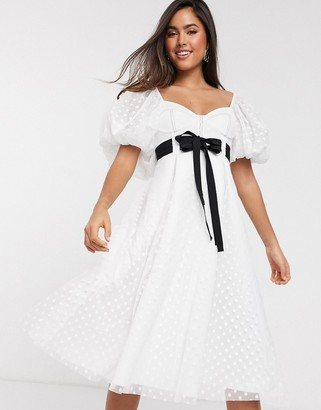 ASOS DESIGN sweetheart neck dobby midi prom dress with double tie belt in white