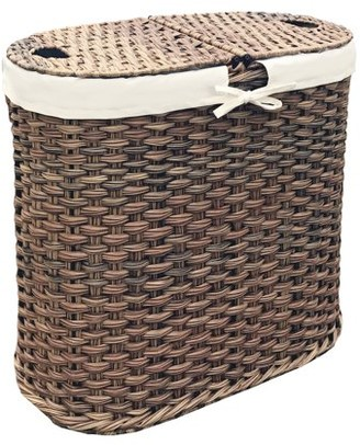 Seville Classics Hand-Woven Oval Double Laundry Hamper /w Liner, Mocha