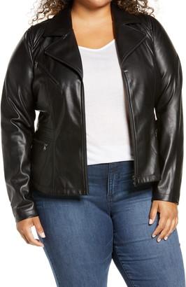 Halogen Front Zip Faux Leather Jacket