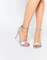 Faith Leah Silver Wavy Heeled Sandals