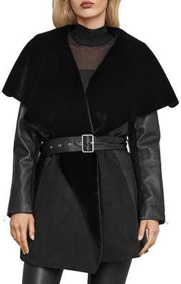 BCBGMAXAZRIA Draped Leather & Faux Shearling Jacket