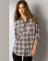 Aqua Fitted Plaid Two-Pocket Shirt