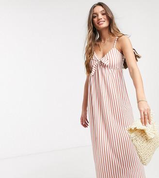 ASOS DESIGN Petite cami bow front maxi sundress in rose stripe