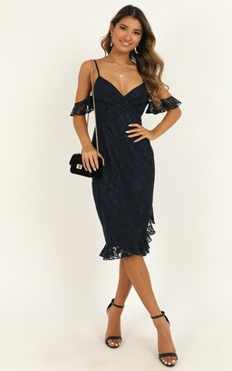 Showpo How Could You Forget About Me Dress in navy lace - 4 (XXS)