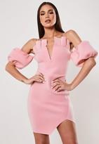 Missguided Pink Frill Cold Shoulder Bardot Mini Dress