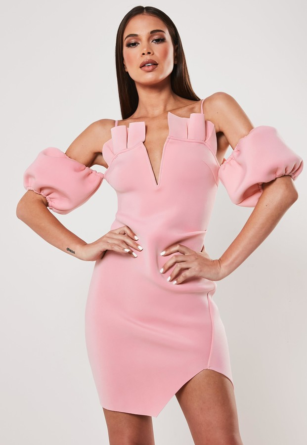Missguided Pink Frill Cold Shoulder Bardot Mini Dress