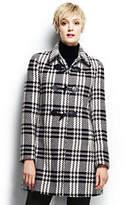 Lands' End Women's Plus Size Shaker Funnelneck Sweater-Black/Warm Canvas Plaid