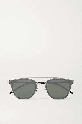 Saint Laurent Aviator-style Silver-tone And Acetate Mirrored Sunglasses