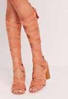 Missguided Strappy Wrap Around Block Heel Sandal Pink