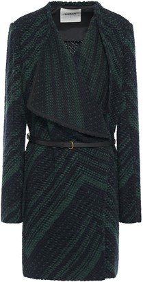 BA&SH Icare Belted Draped Two-tone Jacquard-knit Jacket