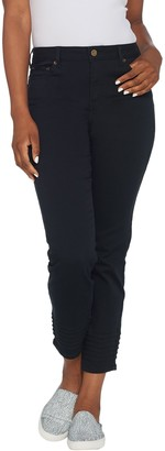 Logo By Lori Goldstein LOGO by Lori Goldstein Petite Twill Ankle Pant with Moto Detail