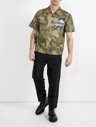 Burberry short-sleeve monogram print cotton shirt green
