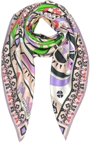 Emilio Pucci Peony and Green Inca Print Silk Square Scarf