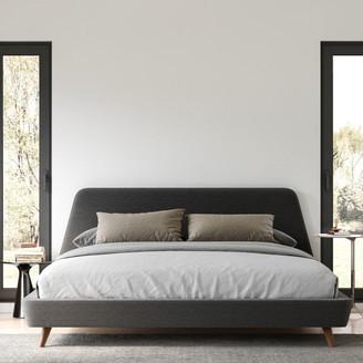 Omax Decor Henry Mid-Century Modern Upholstered Platform Bed, Dark Gray, King