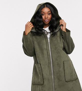Asos DESIGN Curve shearling parka with seam detail in khaki
