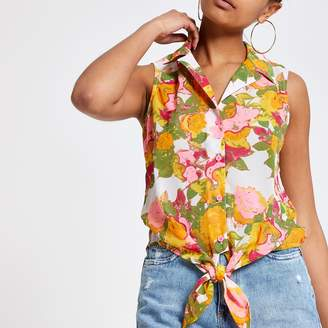 River Island Womens Pink and yellow print tie knot top
