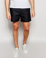 Weekday PC Leave Denim Shorts Tailored in Dark Blue