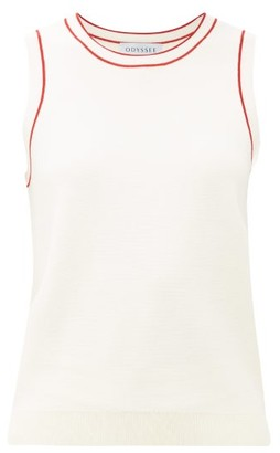 ODYSSEE Libertie Stripe-trim Knitted Tank Top - White Multi