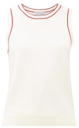 Odyssee - Libertie Stripe-trim Knitted Tank Top - Womens - White Multi