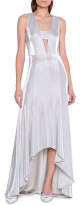 Akris Cutout Sleeveless Metallic Jersey Gown