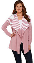 As Is Denim & Co. Drape Front Long Sleeve Striped Cardigan