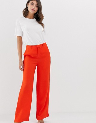 Vila wide leg high waisted trouser-Red