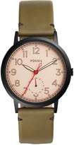 Fossil Women's Everyday Muse Green Leather Strap Watch 40mm ES4058