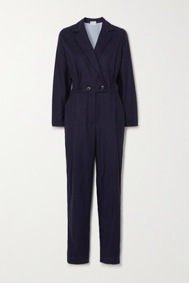 Yoox Net A Porter For The Prince's Foundation YOOX NET-A-PORTER For The Prince's Foundation - Double-breasted Herringbone Cashmere Jumpsuit - Navy