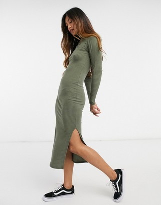 New Look ribbed turtle neck bodycon dress in khaki