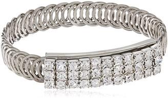 1928 Jewelry Silver-Tone Clear Crystal Rhinestone Slim Belt Bracelet