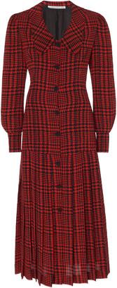 Alessandra Rich Pleated Houndstooth Silk Midi Dress