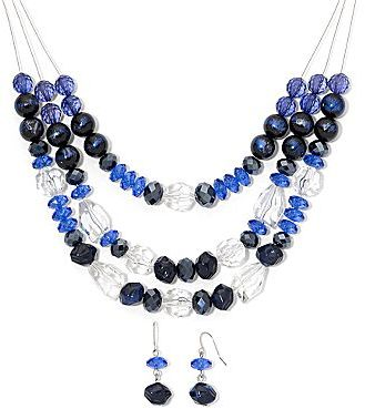 JCPenney Asstd Private Brand Blue 3-Row Wire Necklace & Earrings Set