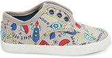 Toms Grey Canvas Spaceships Tiny Paseos Shoes - Size 2