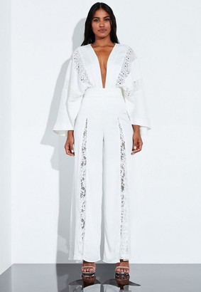 Missguided White Lace Insert Wide Leg Trousers