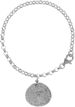 "Italian Silver 7-1/2"" Coin Charm Bracelet"