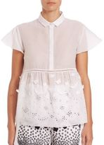 Giamba Butterfly Applique & Lace-Detail Blouse