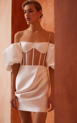Rasario Bridal Draped Off-The-Shoulder Satin Mini Dress