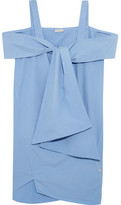 Clu Tie-front Cotton Mini Dress - Light blue