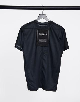 Religion oversized T-shirt in washed black