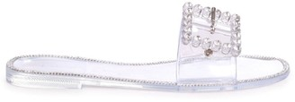 Linzi OBSESSED - Clear Slip On Slider With Large Buckle Detail and Diamante Trim