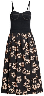Marina Moscone Smocked Cotton Bustier Midi Dress