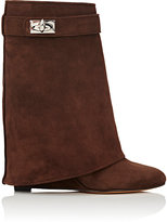 """Givenchy Women's """"Shark Line"""" Suede Wedge Ankle Boots-DARK BROWN"""