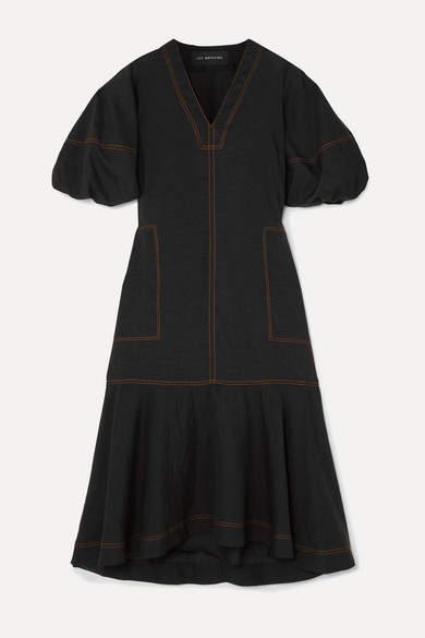 Lee Mathews - Ginger Tiered Tencel-blend Midi Dress - Black